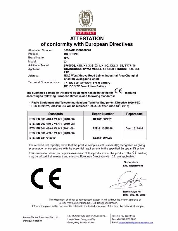 X8PRO Radio Equipment Directive